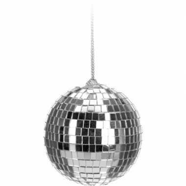 1x kerstboom decoratie discobal kerstballen zilver 6 cm
