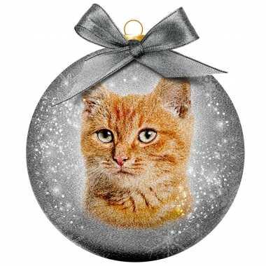 1x kunststof dieren kerstballen met rode kat/poes 8 cm