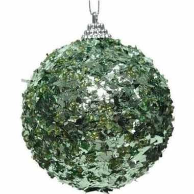 1x mintgroene kerstballen 8 cm met folie strookjes kunststof kerstver
