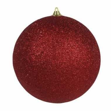 1x rode grote kerstballen met glitter kunststof 13,5 cm
