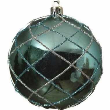 1x turquoise blauwe kerstballen 8 cm zilver glitter patroon kunststof