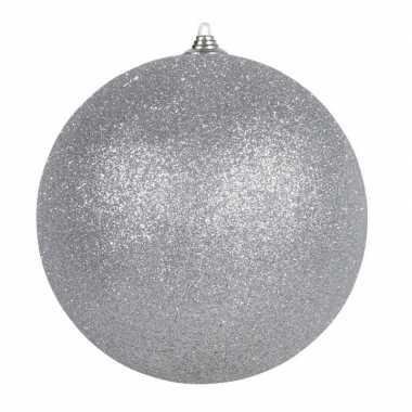 1x zilveren grote kerstballen met glitter kunststof 13,5 cm