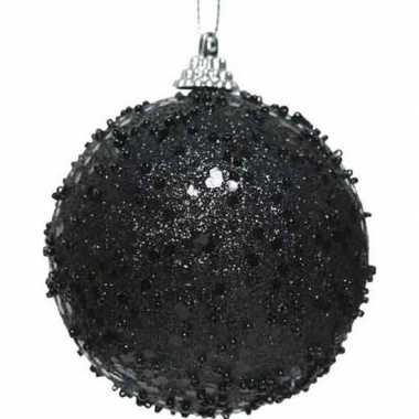 1x zwarte kerstballen 8 cm glitters/glimmers kunststof kerstversierin