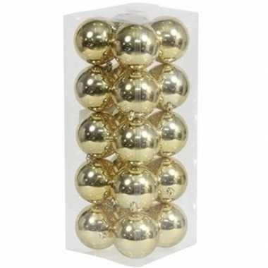 20x gouden kerstballen 8 cm glanzende kunststof/plastic kerstversiering