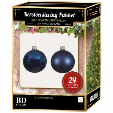 24 stuks glazen kerstballen pakket donkerblauw 6 cm