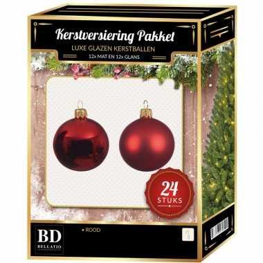 24 stuks glazen kerstballen pakket kerst rood 6 cm