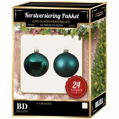24 stuks glazen kerstballen pakket turquoise blauw 6 cm