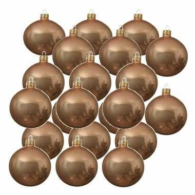 24x donker parel/champagne kerstballen 6 cm glanzende glas kerstversiering