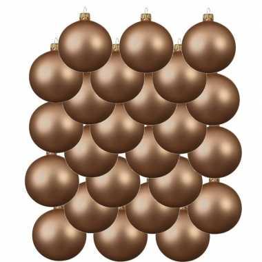 24x donker parel/champagne kerstballen 6 cm matte glas kerstversiering