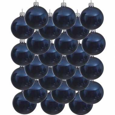 24x donkerblauwe kerstballen 6 cm glanzende glas kerstversiering