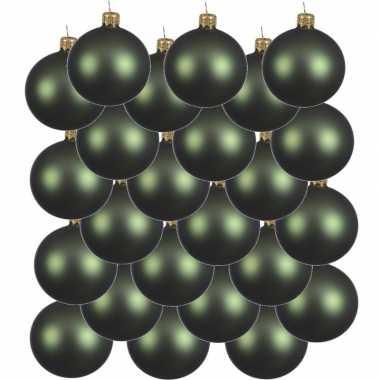 24x donkergroene kerstballen 6 cm matte glas kerstversiering