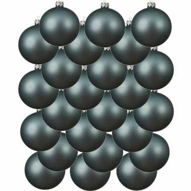 24x ijsblauwe kerstballen 6 cm matte glas kerstversiering