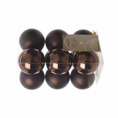 24x kerstballen pakket mat bruin 6 cm