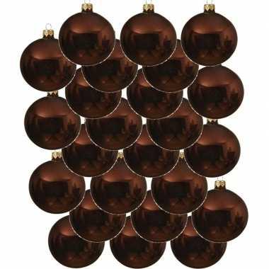 24x roodbruine kerstballen 6 cm glanzende glas kerstversiering