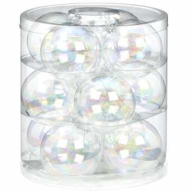 24x transparant parelmoer glazen kerstballen 8 cm glans en mat