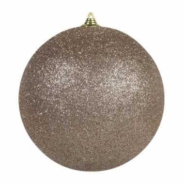 2x champagne grote decoratie kerstballen met glitter kunststof 25 c