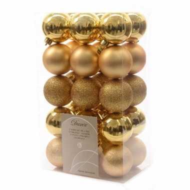30x gouden kerstballen 6 cm glanzende/matte/glitter kunststof/plastic