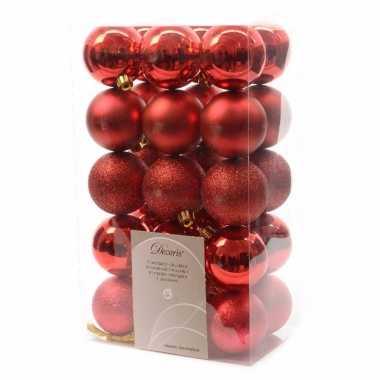 30x kerst rode kerstballen 6 cm glanzende/matte/glitter kunststof/pla