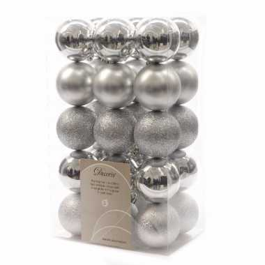 30x zilveren kerstballen 6 cm glanzende/matte/glitter kunststof/plast