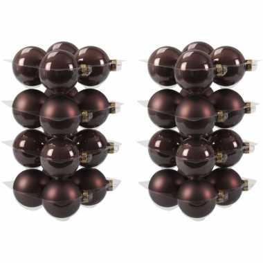 32x donkerbruine kerstballen 8 cm glas kerstversiering combi