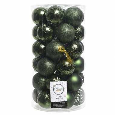36x donkergroene kerstballen 6 cm glanzende/matte/glitter kunststof/p