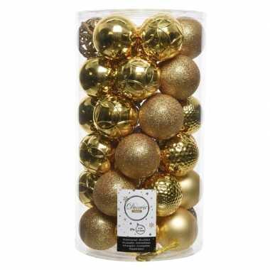 36x gouden kerstballen 6 cm glanzende/matte/glitter kunststof/plastic