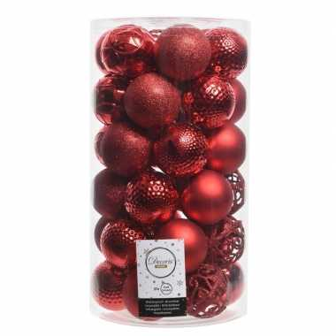 36x kerst rode kerstballen 6 cm glanzende/matte/glitter kunststof/pla