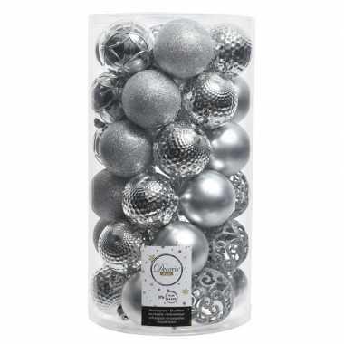 36x zilveren kerstballen 6 cm glanzende/matte/glitter kunststof/plast