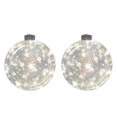 3x glazen decoratie kerstballen met 20 led lampjes verlichting 12 cm