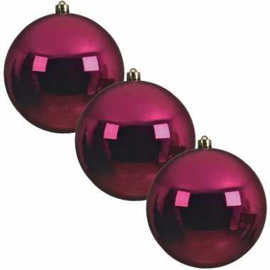 3x grote bessen roze kerstballen van 20 cm glans van kunststof