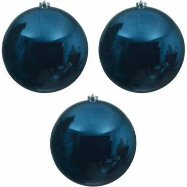 3x grote donkerblauwe kerstballen van 20 cm glans van kunststof