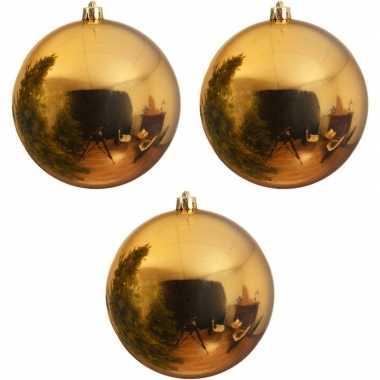 3x grote gouden kerstballen van 20 cm glans van kunststof