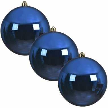 3x grote kobalt blauwe kerstballen van 20 cm glans van kunststof
