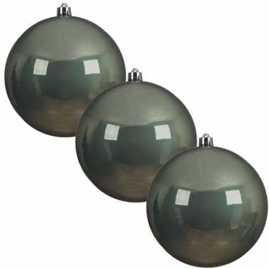 3x grote salie groene kerstballen van 20 cm glans van kunststof
