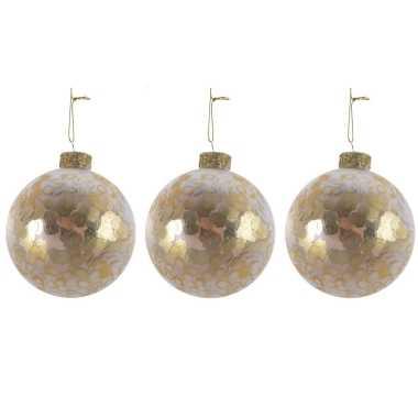 3x luxe glazen kerstballen goud met pailletten 8 cm