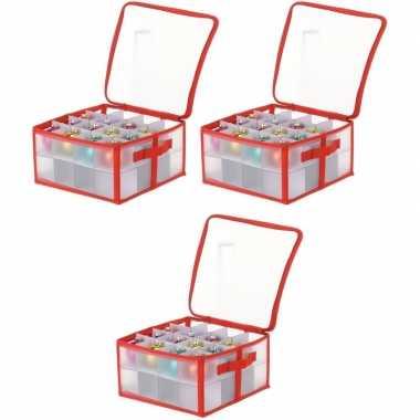 3x opbergboxen voor kerstballen 30 cm