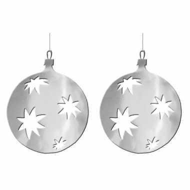 3x stuks kerstballen hangdecoratie 30 cm