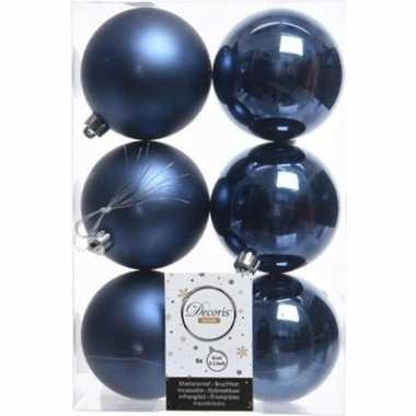 42x donkerblauwe kerstballen 8 cm glanzende/matte kunststof/plastic kerstversiering