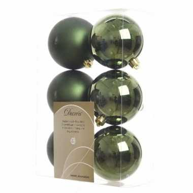 42x donkergroene kerstballen 8 cm glanzende/matte kunststof/plastic kerstversiering