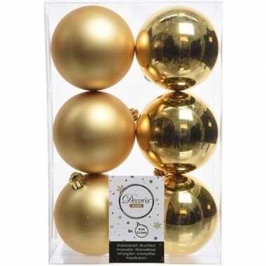 42x gouden kerstballen 8 cm glanzende/matte kunststof/plastic kerstversiering