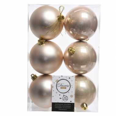 42x licht parel/champagne kerstballen 8 cm glanzende/matte kunststof/plastic kerstversiering