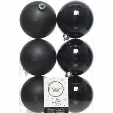 42x zwarte kerstballen 8 cm kunststof mat/glans