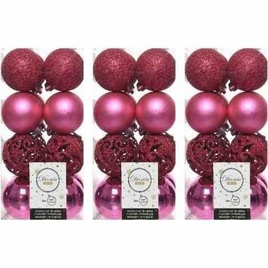 48x fuchsia roze kerstballen 6 cm glanzende/matte/glitter kunststof/plastic kerstversiering