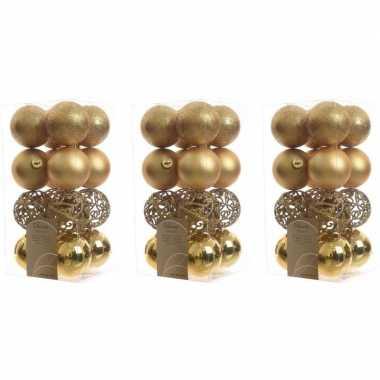 48x gouden kerstballen 6 cm glanzende/matte/glitter kunststof/plastic kerstversiering