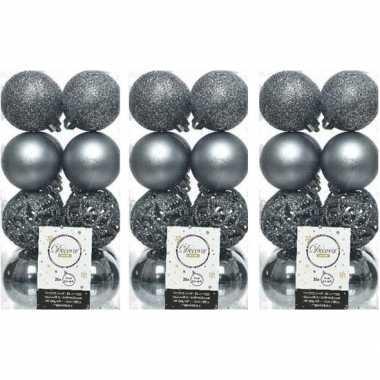 48x grijsblauwe kerstballen 6 cm glanzende/matte/glitter kunststof/plastic kerstversiering