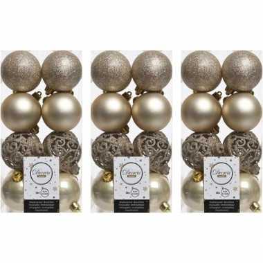 48x licht parel/champagne kerstballen 6 cm glanzende/matte/glitter kunststof/plastic kerstversiering