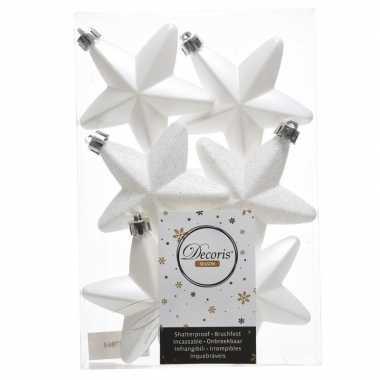 48x winter witte kerstballen 7 cm glanzend/matte/glitter kunststof/plastic kerstversiering