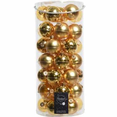 49x gouden glazen kerstballen 6 cm glans en mat