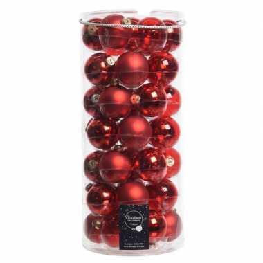 49x kerst rode glazen kerstballen 6 cm glans en mat