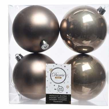 4x bruine kerstversiering kerstballen kunststof 10 cm